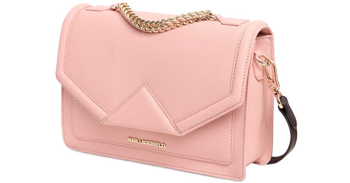 630be7680edd9 Karl Lagerfeld K Klassic Saffiano Leather Shoulder Bag in Pink - Lyst
