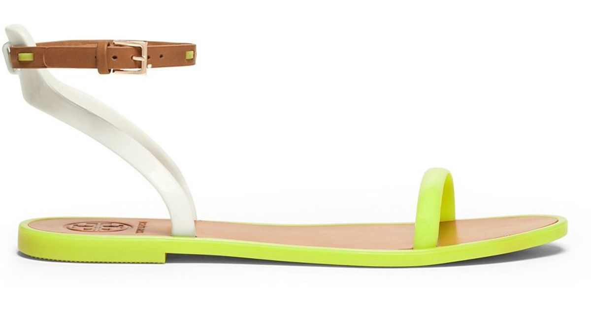 37b712c8a6eb ... coupon code for lyst tory burch leather ankle strap flat jelly sandal  in yellow eadd5 8dca6