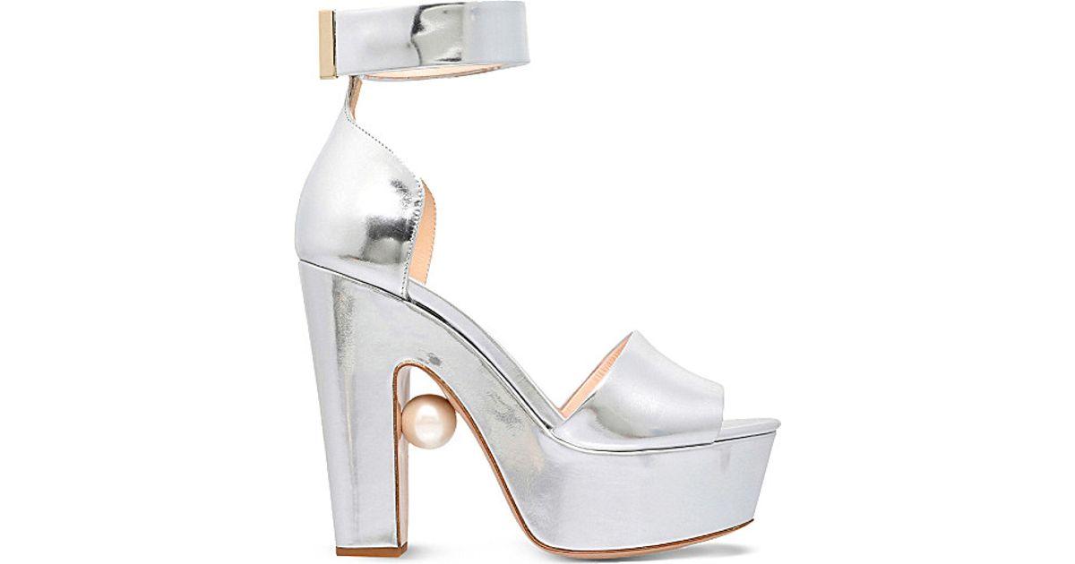 8ef80e683ad Lyst - Nicholas Kirkwood Maya Pearl-embellished Heeled Sandals in Metallic