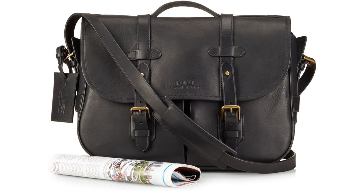 Lyst - Polo Ralph Lauren Leather Messenger Satchel in Black for Men 21402653d02e3