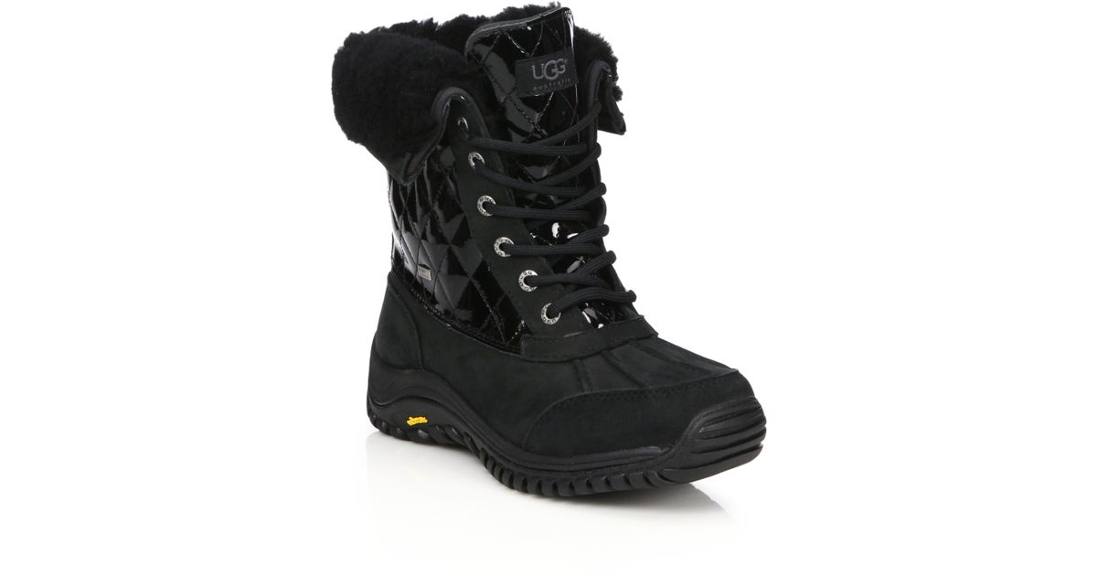 7954f125663 UGG Black Adirondack Ii Lace-up Shearling-lined Leather Boots
