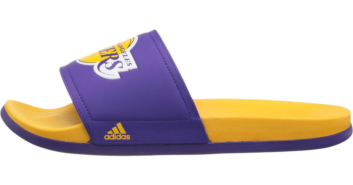 c18f5d6cd0540 Lyst - adidas Adilette - La Lakers in Purple for Men