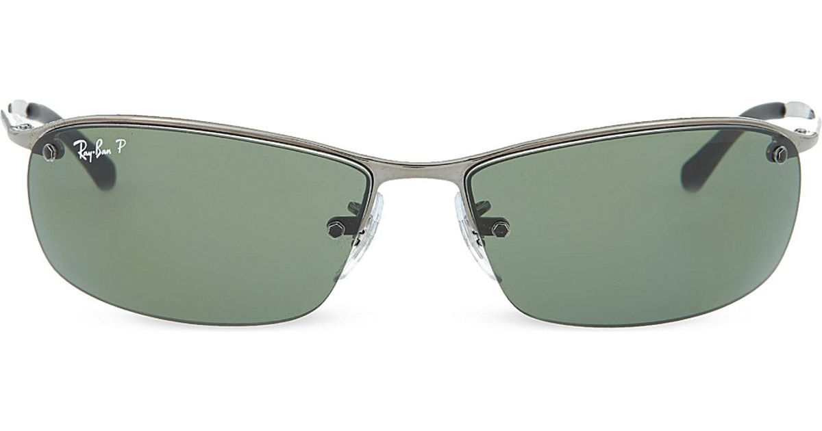 50f6188d17 Ray-Ban Wrap-around Rectangular Sunglasses Rb3183 00 in Gray for Men - Save  27% - Lyst