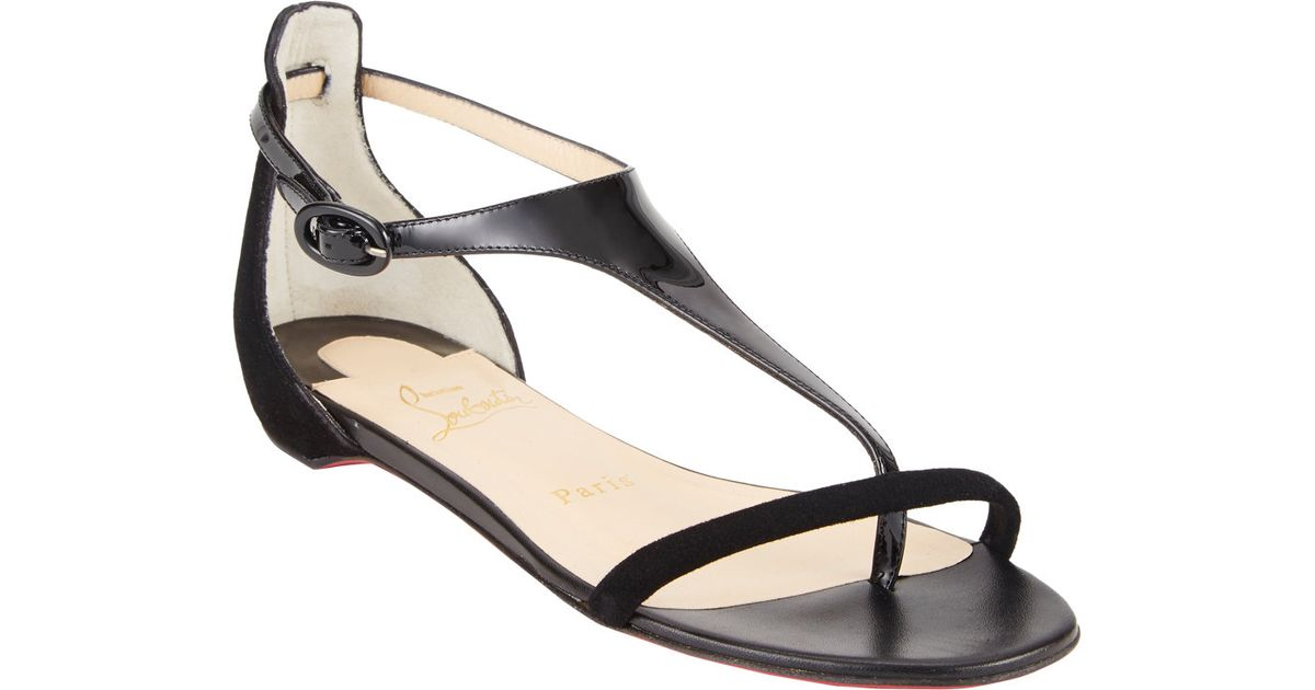 2d51dca53e69 ... real christian louboutin athena tstrap flat sandals in black lyst 1c910  b0da6