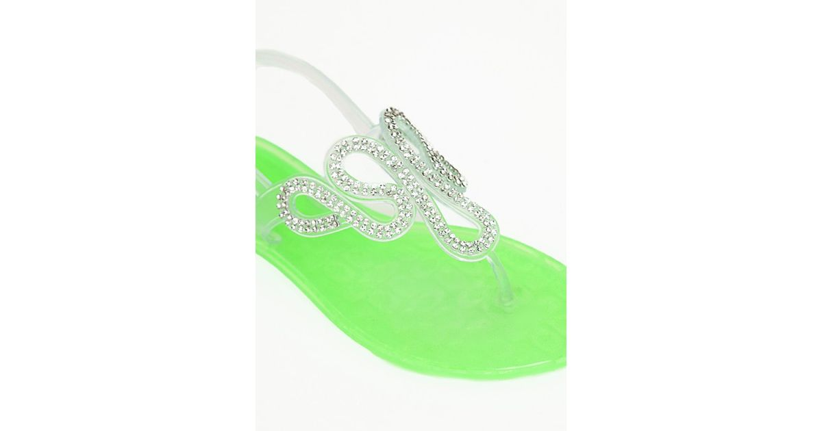 Green Lyst Missguided Jelly Neon Diamante Shoes 7Yfgvb6y