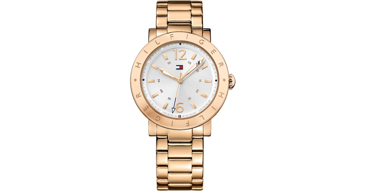 tommy hilfiger rose gold sport watch in gold rose gold. Black Bedroom Furniture Sets. Home Design Ideas