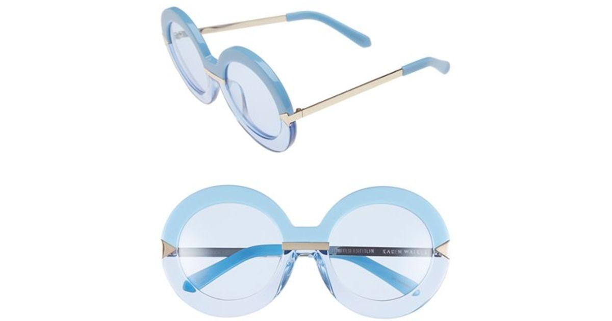2ff75dee22 Lyst - Karen Walker  hollywood Pool - Arrowed By Karen  53mm Sunglasses - Sky  Blue  Sky Blue  Gold in Blue