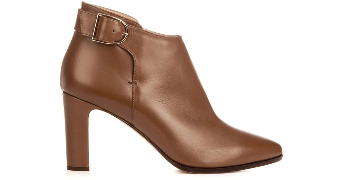 333b3d42a4da8 Lyst - Max Mara Ornati Leather Ankle Boots in Brown