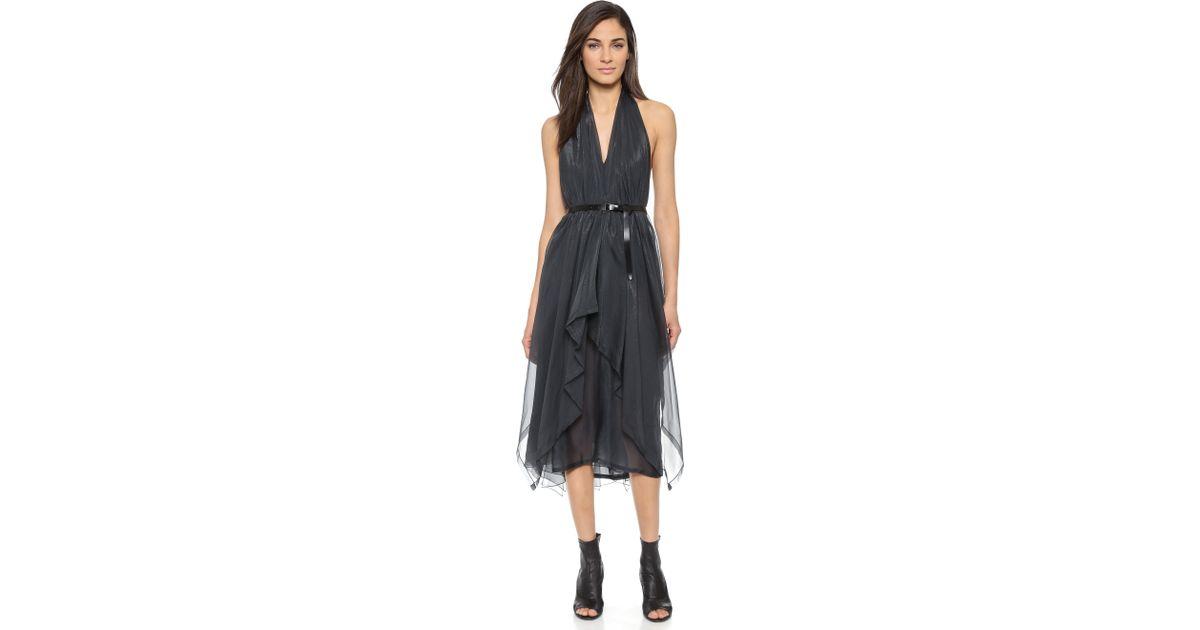 Donna Karan Belted Halter Handkerchief Cocktail Dress