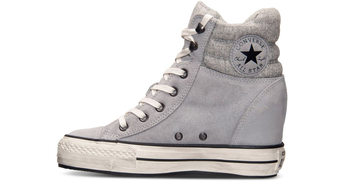 2d3345379c02 Lyst - Converse Women S Chuck Taylor All Star Platform Plus Hi Casual  Sneakers From Finish Line in Gray