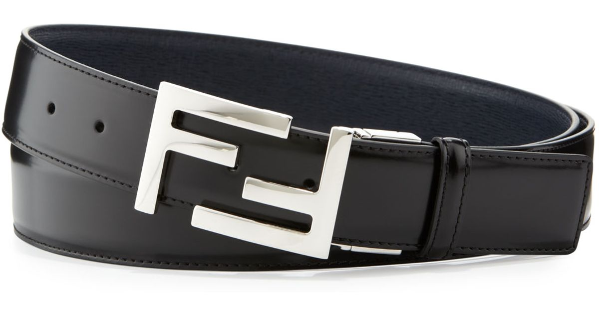 f8bc8a2868cd ... sale lyst fendi reversible ff buckle leather belt in black for men  79ee9 9401f
