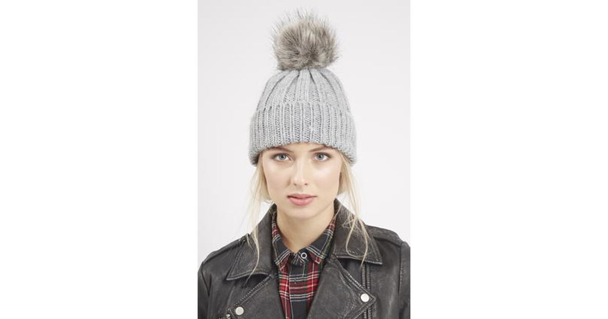 Lyst - TOPSHOP Faux Fur Pom Beanie Hat in Gray a22b9566e63