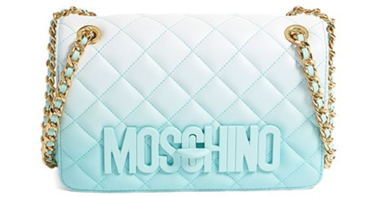 2ff19afa77 Moschino 'medium Letters' Degrade Quilted Leather Shoulder Bag in Blue -  Lyst