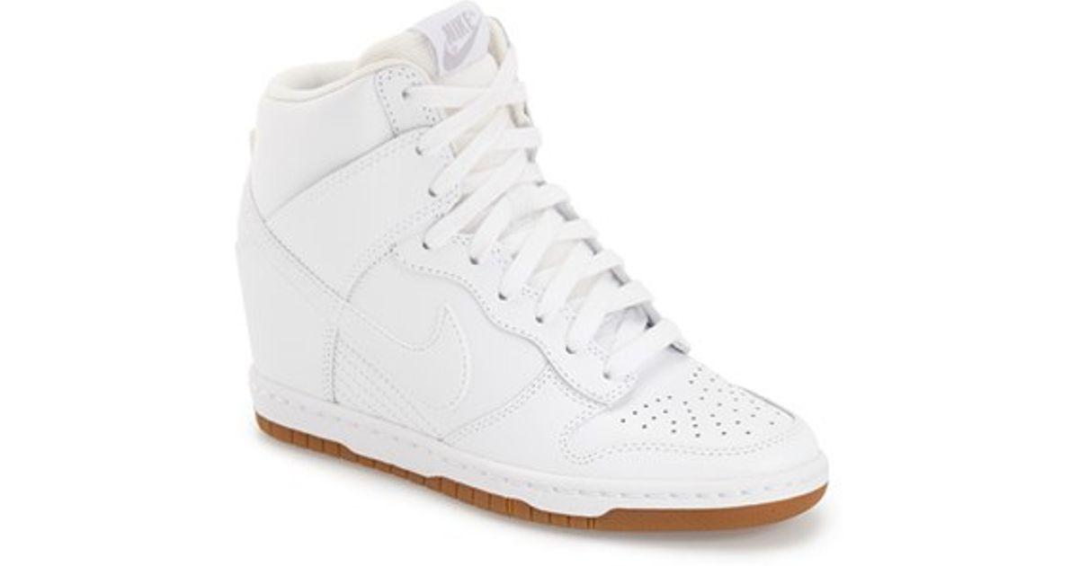 2677ae1272ce74 Lyst - Nike  dunk Sky Hi - Essential  Wedge Sneaker in White