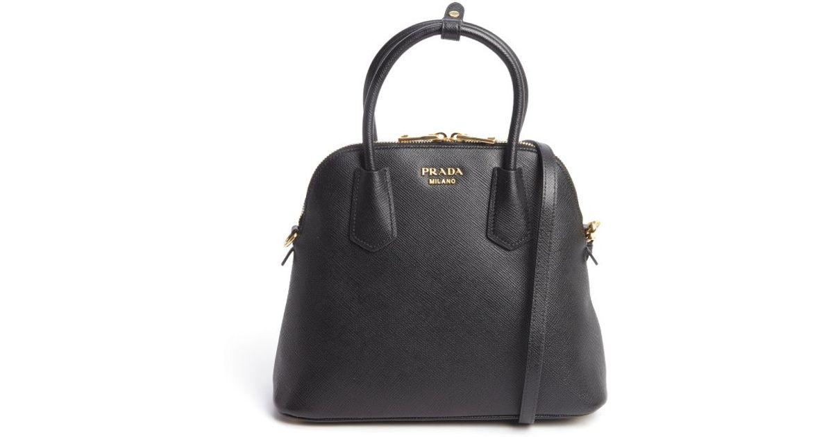 Prada Black Saffiano Leather Small Dome Satchel in Black | Lyst
