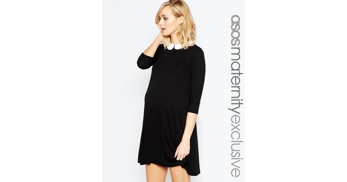 Lyst Asos Swing Dress With Contrast Scallop Collar In Black