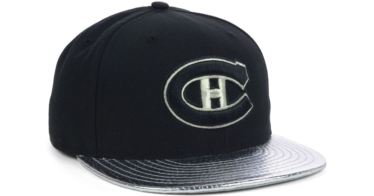 brand new c5ff5 68bd7 ... sale lyst ktz montreal canadiens nhl metallic slither 59fifty cap in  black for men c1c8a d2b88