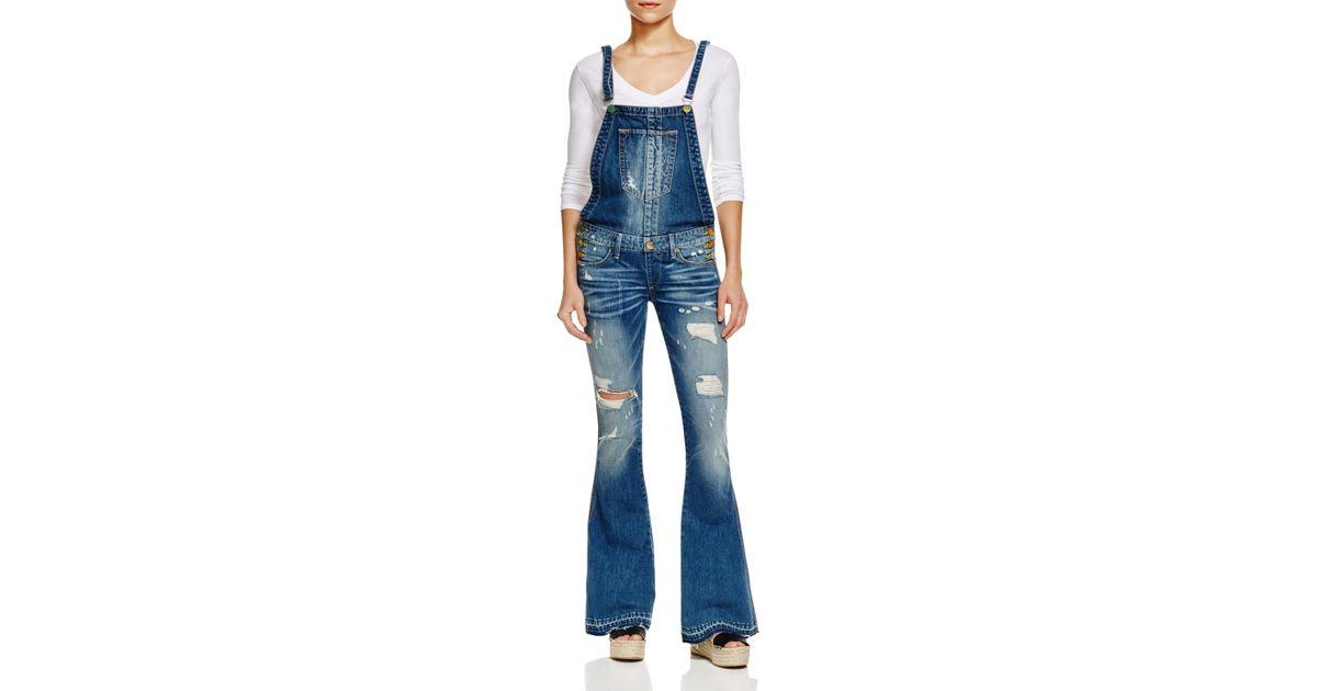 b1dc2d151233 True Religion Karlie Flare Overalls In Vintage In Blue