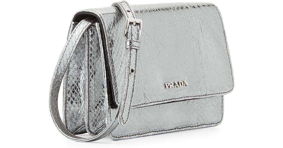 d68ff4626fbade Prada Mini Watersnake Cross-Body Bag in Metallic - Lyst