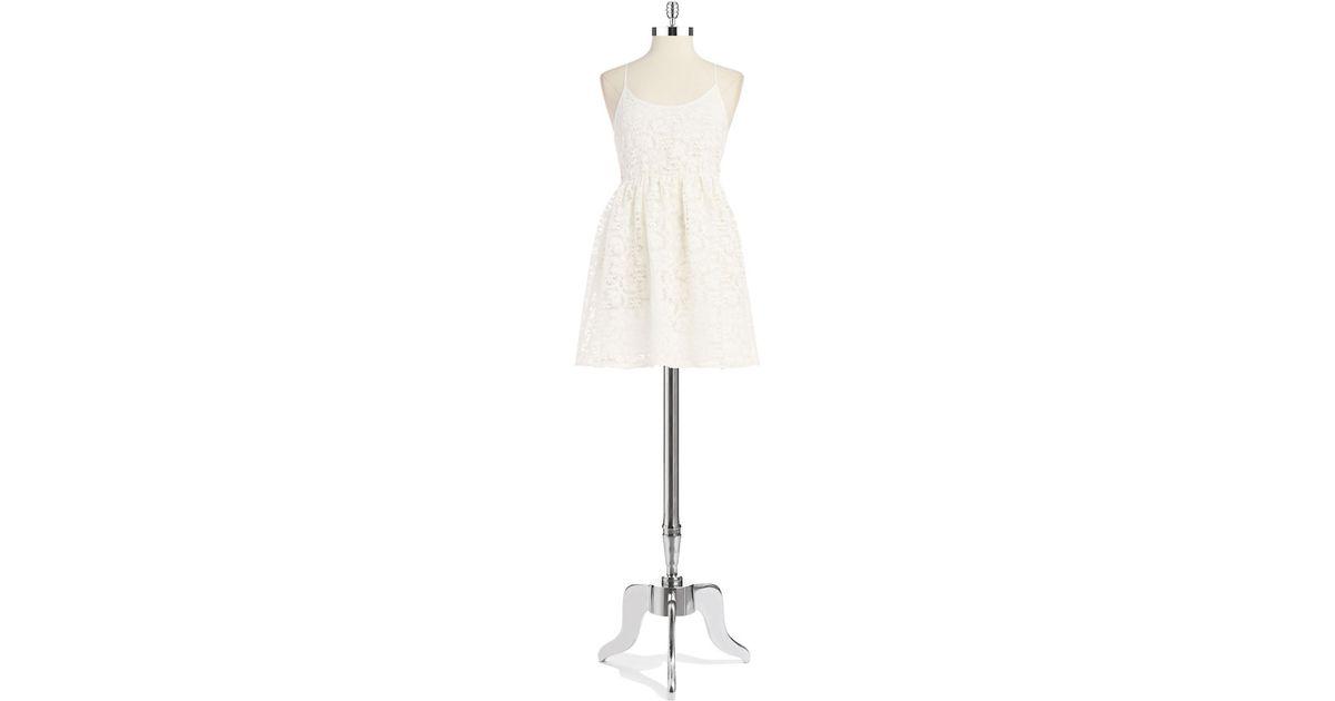 Lyst Lord Taylor Crochet Babydoll Dress In White