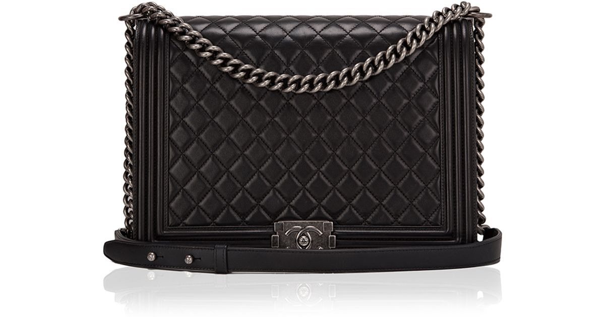 be2791e4b0 Madison Avenue Couture Chanel Black Quilted Lambskin Large Boy Bag in Black  - Lyst