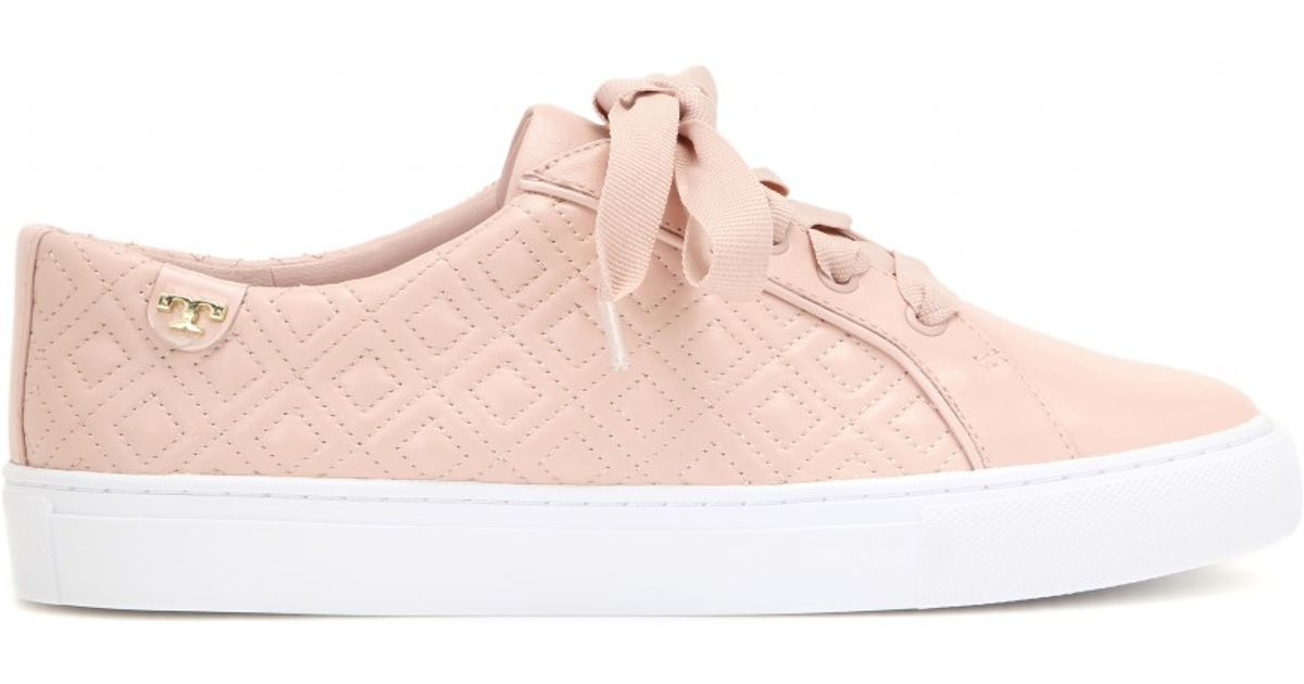 adf7eddd238b8e Lyst - Tory Burch Marion Quilted Leather Sneakers in Pink