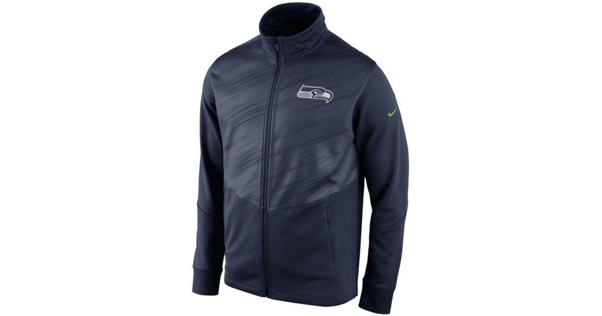 release date 8960a 89755 Nike Blue Men'S Seattle Seahawks Warp Full-Zip Jacket for men