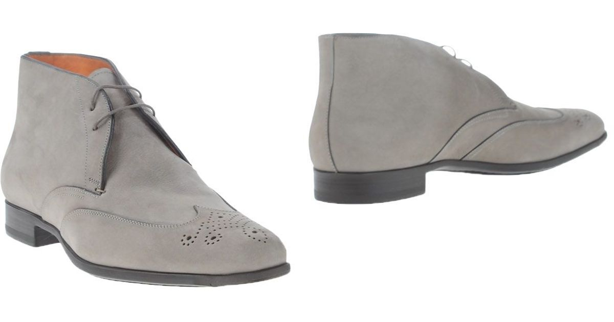 santoni ankle boots in gray for grey lyst