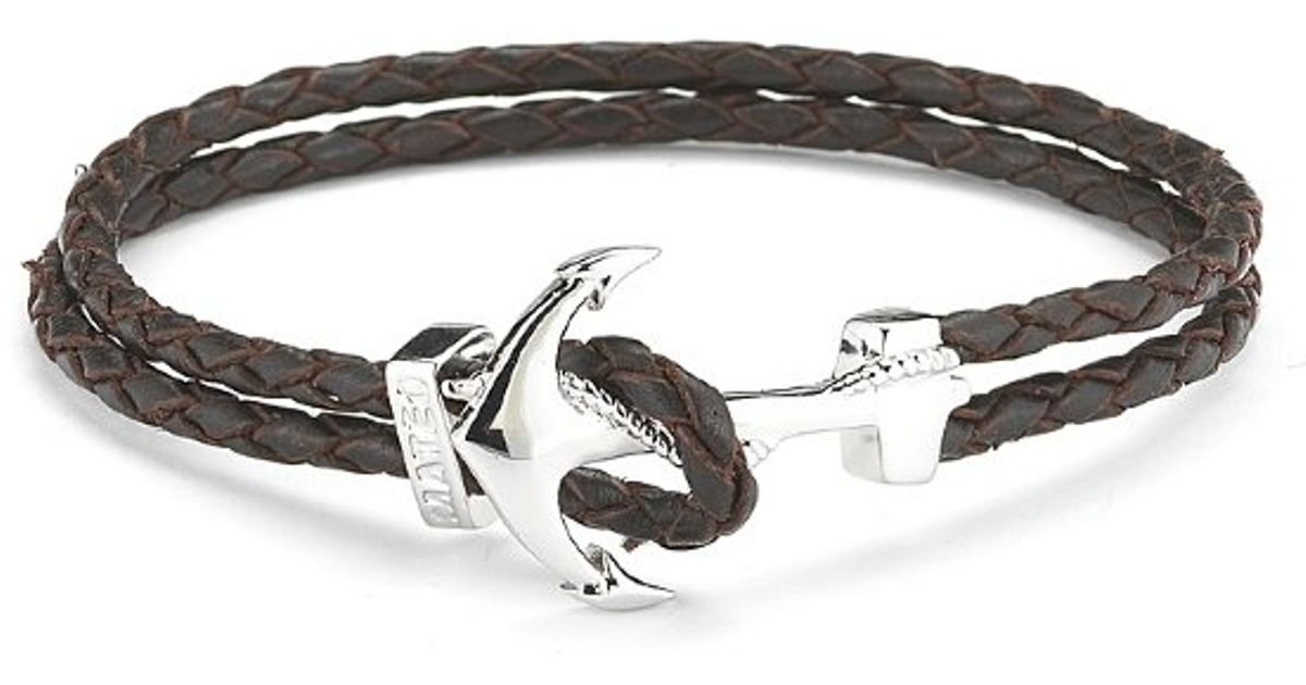 Lyst Mateo Bijoux Anchor Leather Bracelet White Rhodium Over Br Dark Brown In Metallic