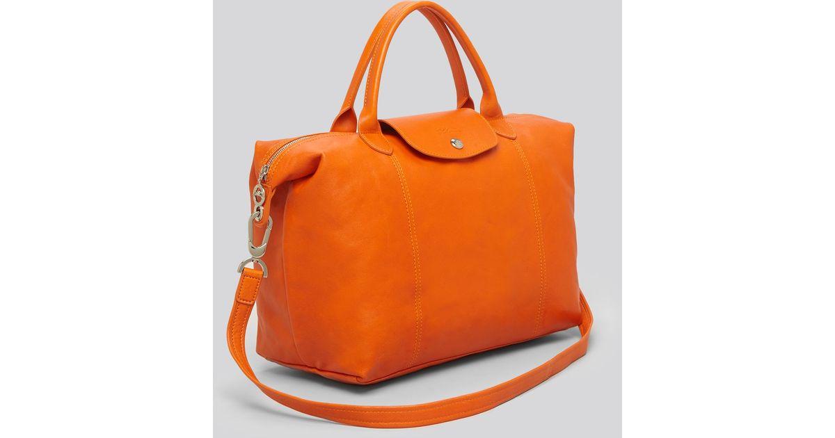 Longchamp Orange Tote Le Pliage Cuir Medium