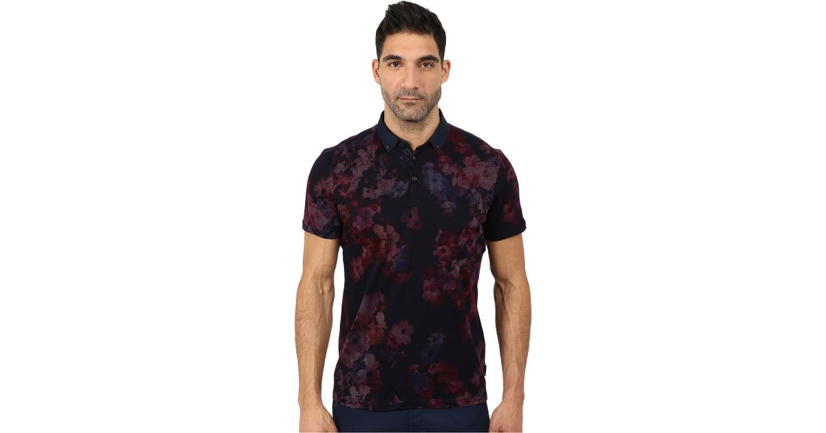 e50d2ce46fd245 Lyst - Ted Baker Perpool Digital Floral Printed Short Sleeve Polo in Purple  for Men