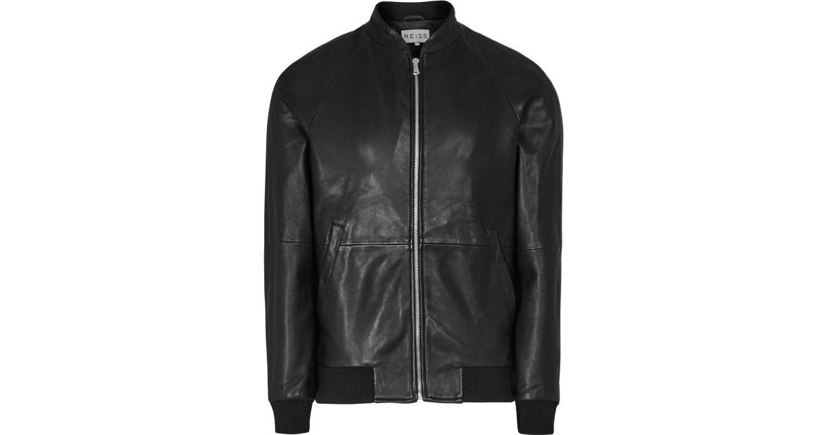 b23a5a52e Reiss Black Kent Leather Bomber Jacket for men