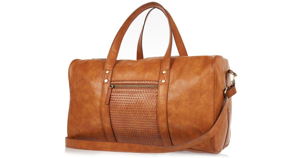 4a3fbc05 River Island Tan Brown Lattice Holdall Bag in Brown for Men - Lyst