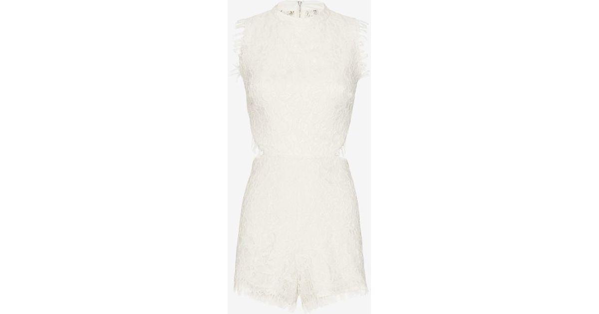 b9d163edba52 Lyst - Alexis Exclusive Chelsea Lace Romper in White