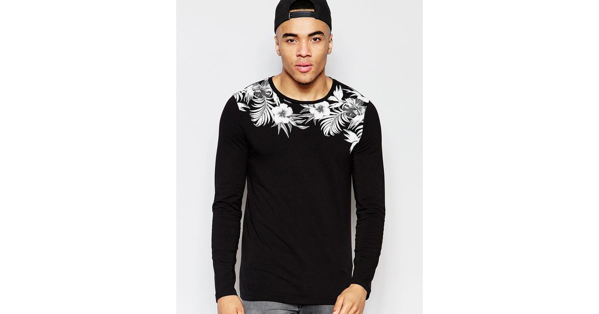 Lyst - Asos Muscle Long Sleeve T-shirt With Floral Yoke Print in Black for  Men