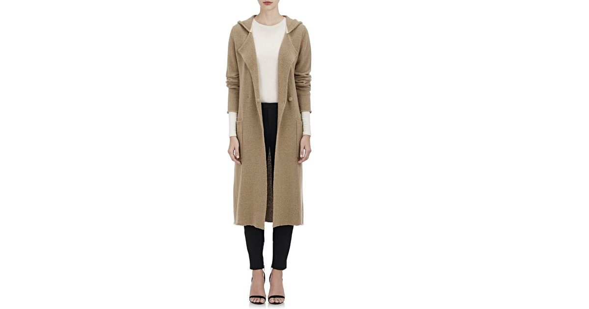 Atm Women's Hooded Cardigan Coat in Brown | Lyst