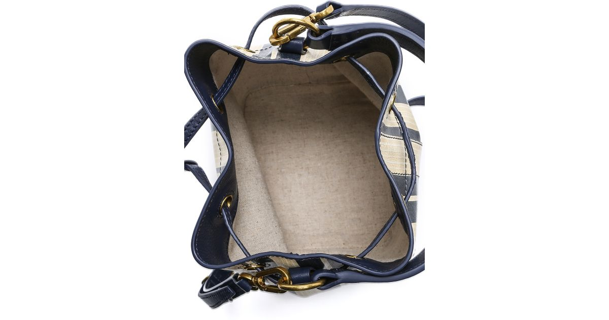 02a2594f478a Lyst - Tory Burch Printed Leather Mini Bucket Bag - Blue Parchment Stripe  in Blue