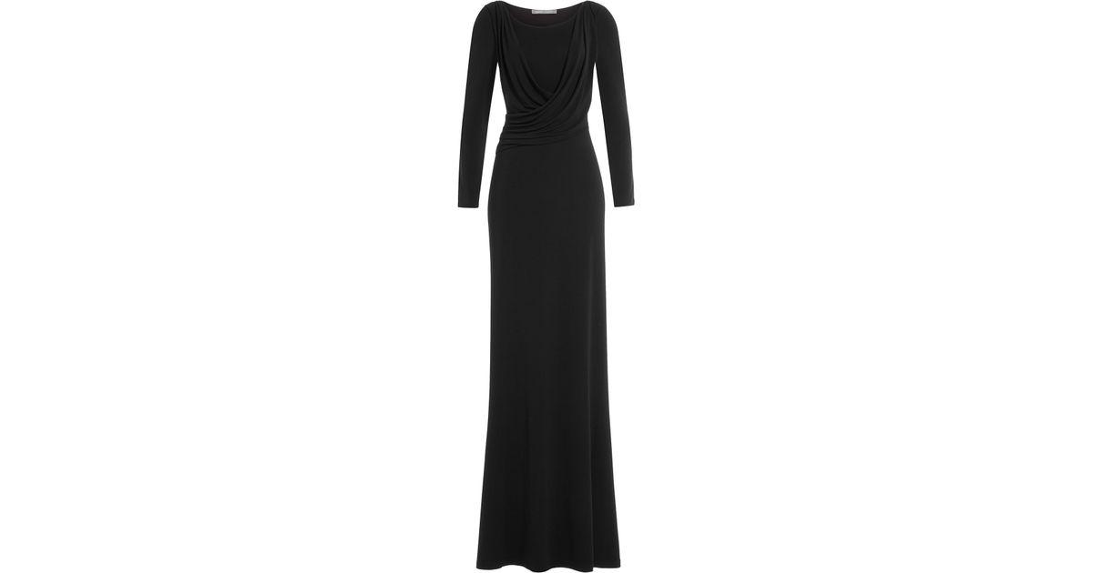 2475b0f0878 Alberta Ferretti Draped Evening Gown in Black - Lyst
