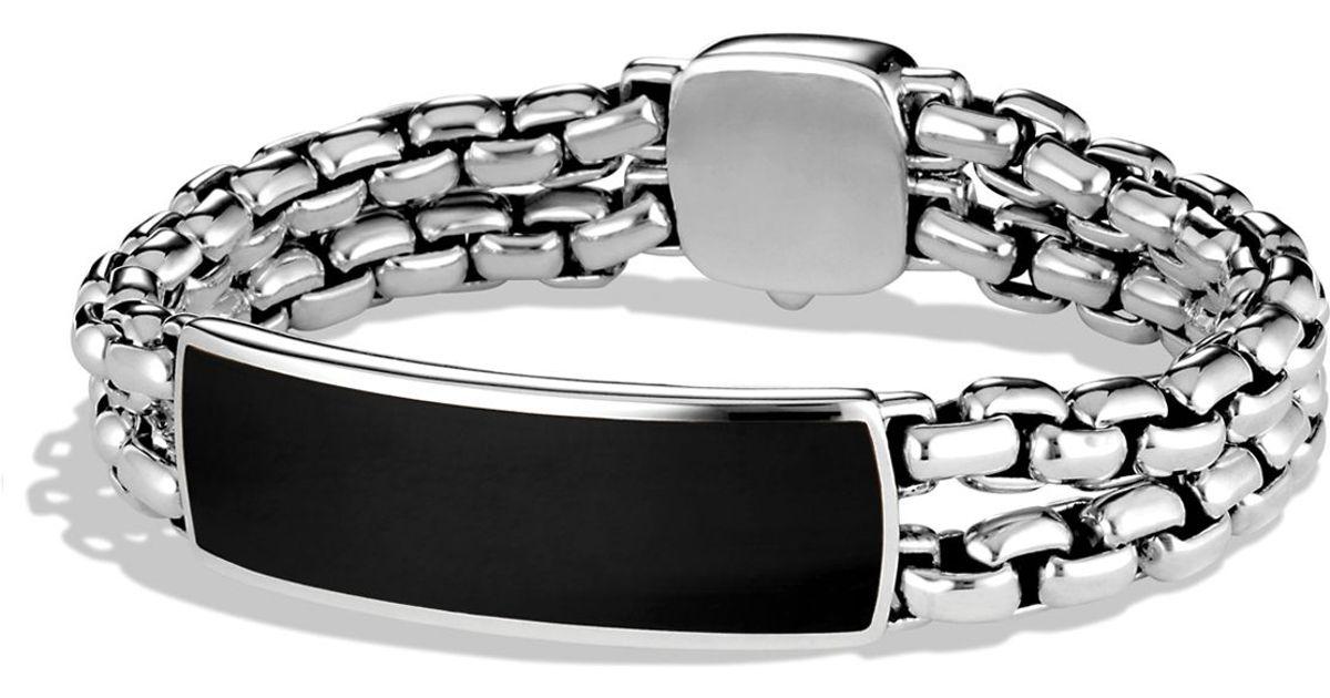 david yurman exotic stone wide id bracelet with black onyx in metallic for men lyst