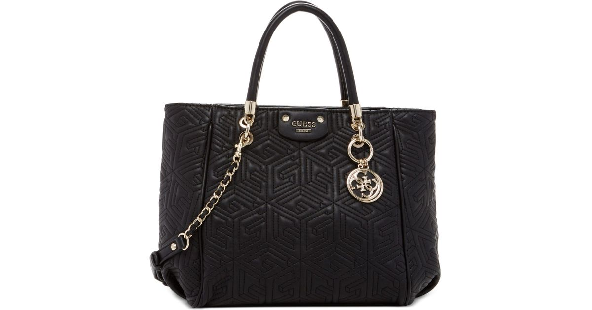 9f899e8220ef Lyst - Guess G Cube Abbey Quilted Convertible Shopper in Black