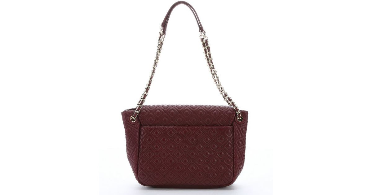 Tory Burch Burgundy Diamond Quilted Leather Marion Small Flap Shoulder Bag In Purple Lyst