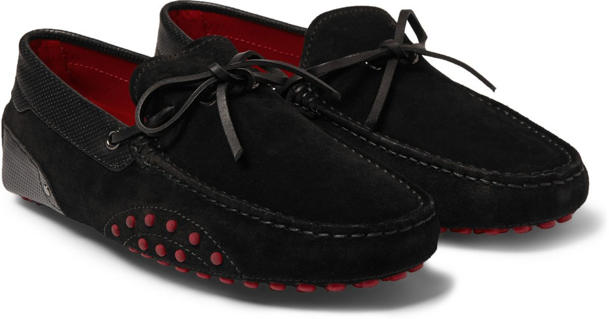 71d4ba60869 Lyst - Tod s Ferrari Gommino Suede And Leather Driving Shoes in Black for  Men