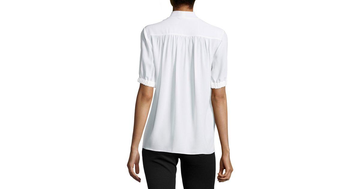 91a6f4700857e Lyst - Michael Kors Tie-v-neck Short-sleeve Blouse in White