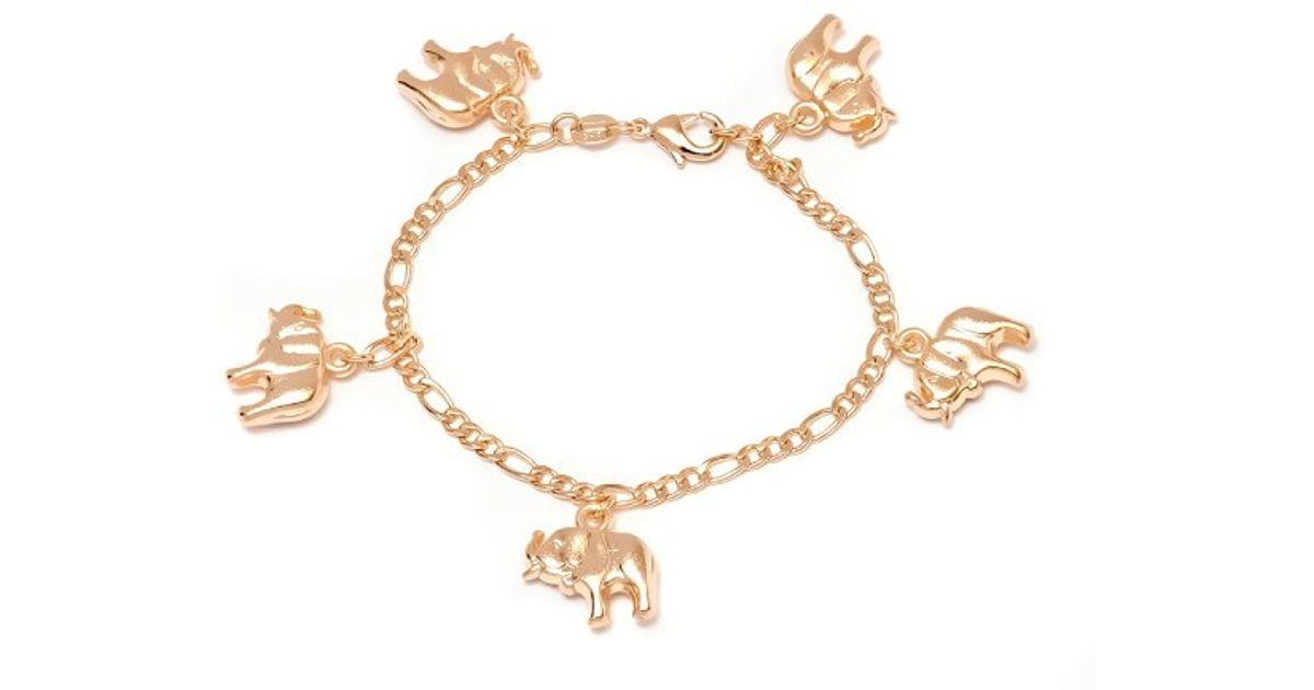 peermont gold elephant charm bracelet in metallic lyst