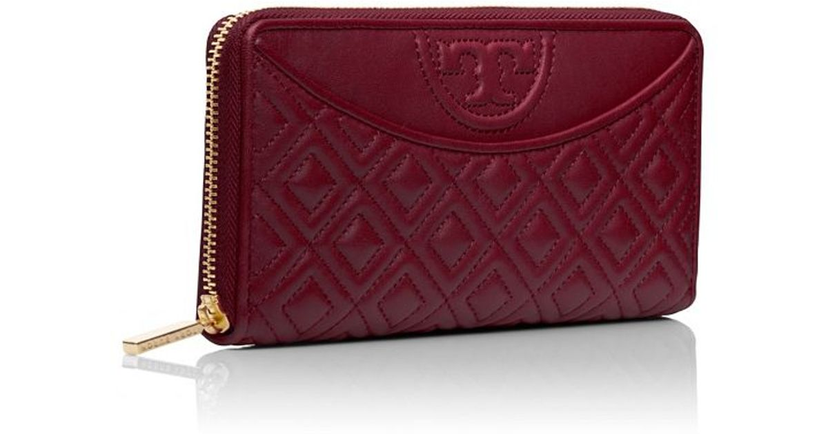 c25970f89282 ... best price tory burch fleming flat zip continental wallet in red lyst  f65d8 23ee0