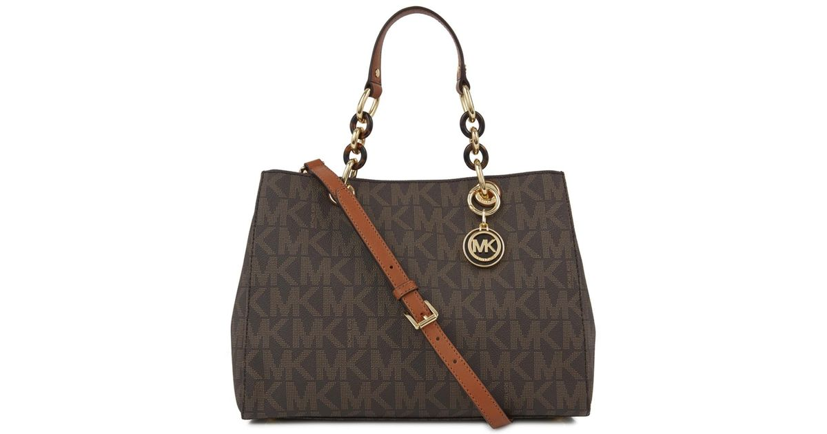 8d93618b6d04 Michael Kors Cynthia Brown Logo Print Coated Canvas Tote in Brown - Lyst