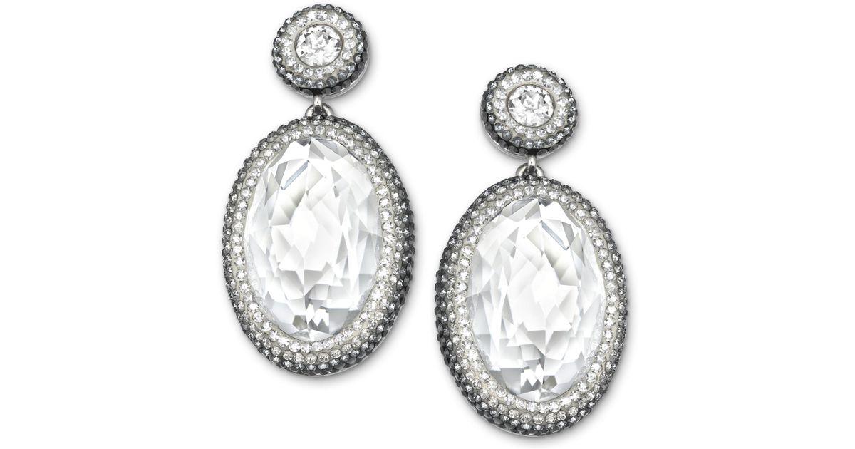 cd32aa282e046 Swarovski Multicolor Palladium-Plated Clear Crystal Oval Drop Earrings