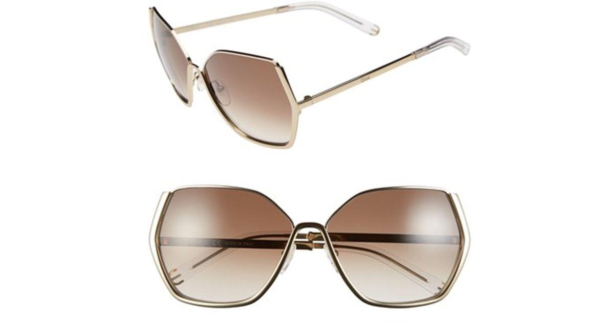 f8a2df14fb1d Chloé  danae  60mm Gradient Sunglasses in Brown - Lyst