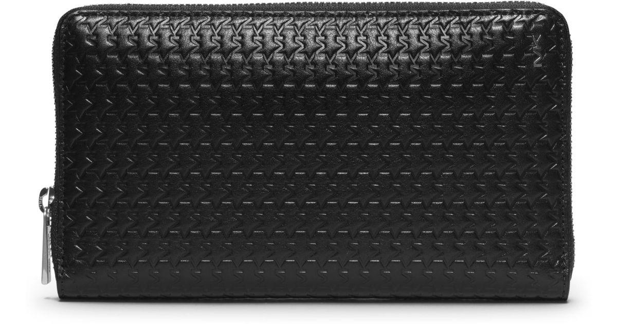 Lyst - Michael Kors Jet Set Men S Embossed-Leather Large Zip Wallet in  Black for Men 2477427b8744
