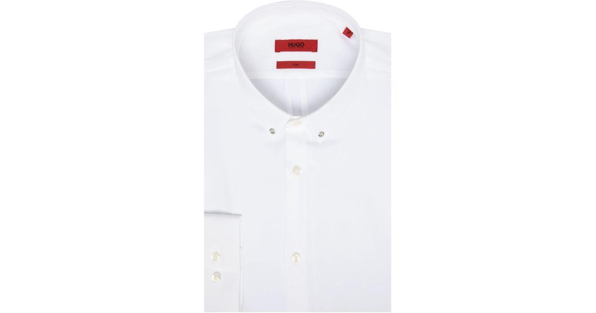 Hugo ero slim eyelet collar shirt in white for men lyst for Mens eyelet collar dress shirts